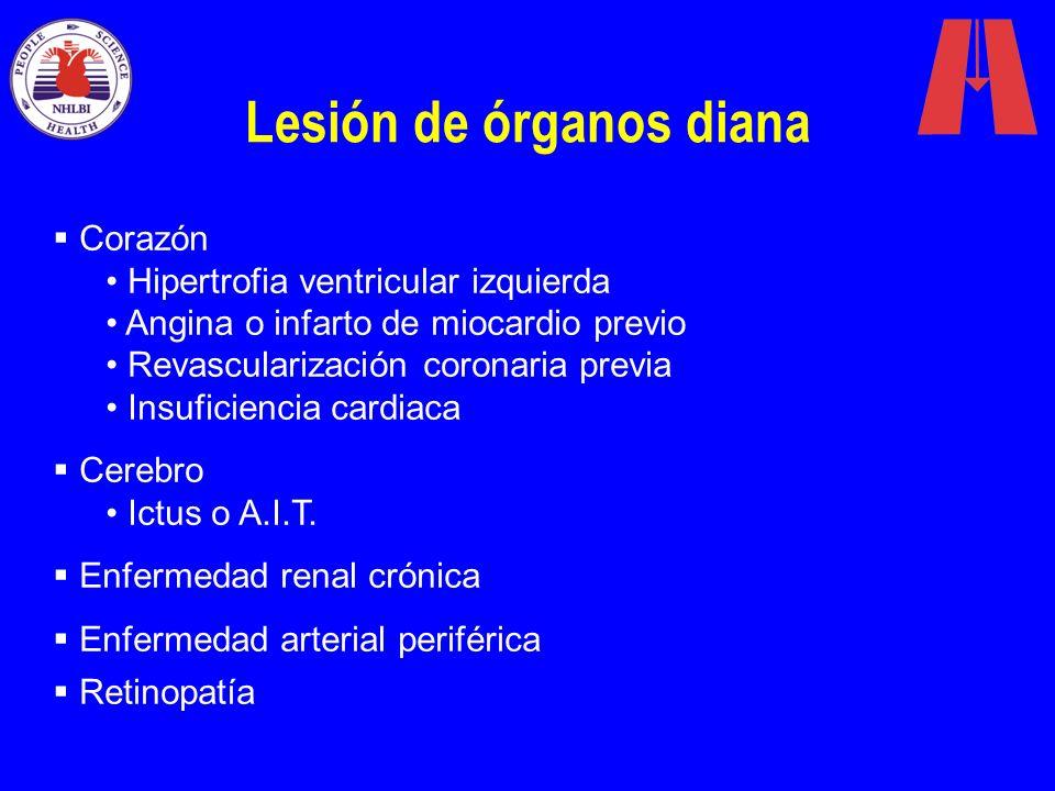 Lesión de órganos diana Corazón Hipertrofia ventricular izquierda Angina o infarto de miocardio previo Revascularización coronaria previa Insuficienci