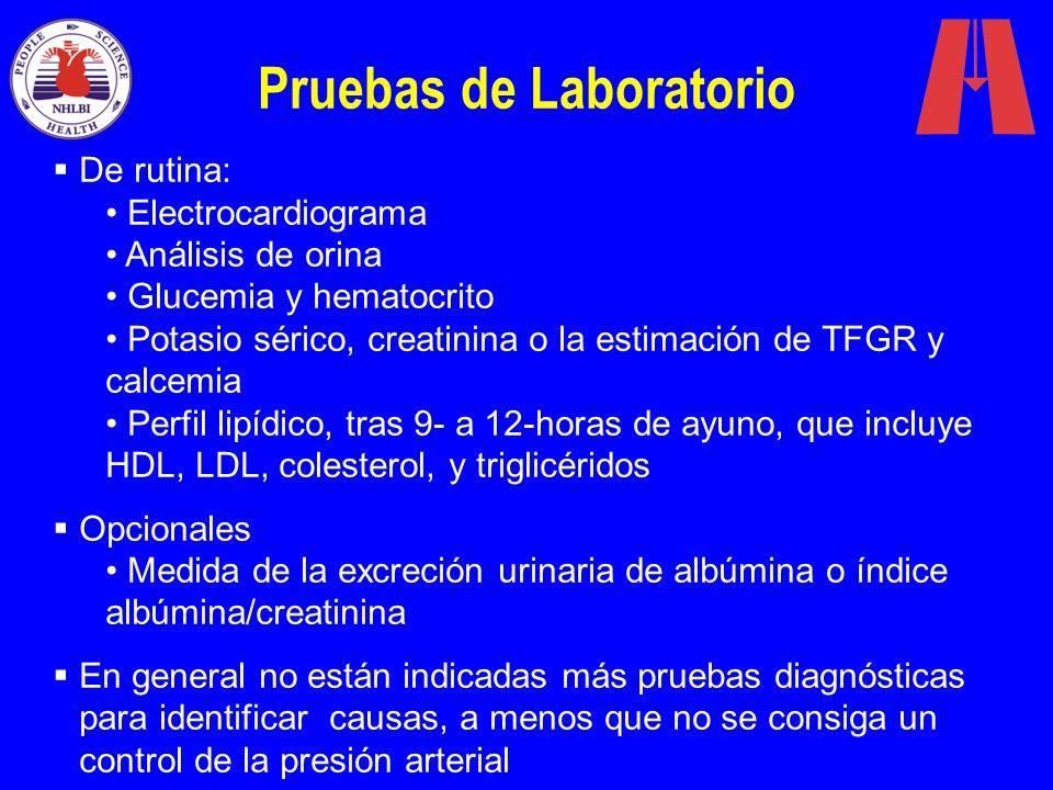 Pruebas de Laboratorio De rutina: Electrocardiograma Análisis de orina Glucemia y hematocrito Potasio sérico, creatinina o la estimación de TFGR y cal