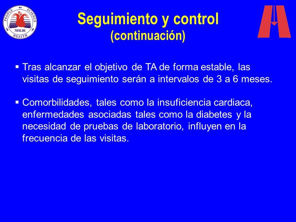 Seguimiento y control (continuación) Tras alcanzar el objetivo de TA de forma estable, las visitas de seguimiento serán a intervalos de 3 a 6 meses. C