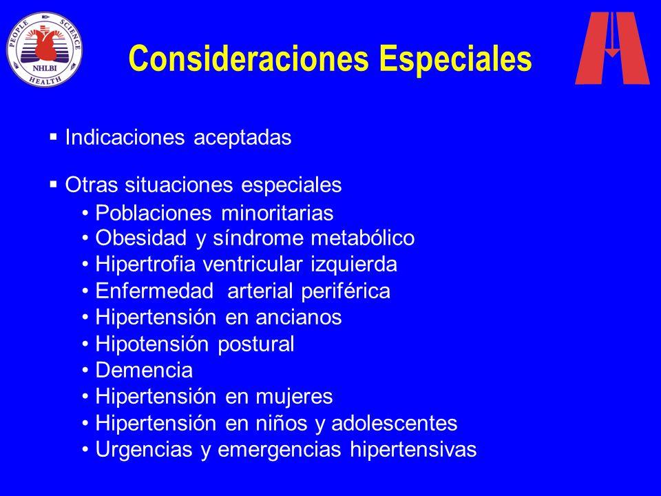 Consideraciones Especiales Indicaciones aceptadas Otras situaciones especiales Poblaciones minoritarias Obesidad y síndrome metabólico Hipertrofia ven