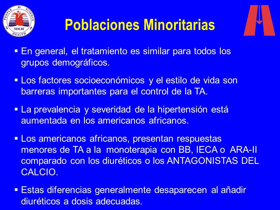 Poblaciones Minoritarias En general, el tratamiento es similar para todos los grupos demográficos. Los factores socioeconómicos y el estilo de vida so