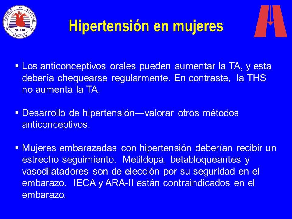 Hipertensión en mujeres Los anticonceptivos orales pueden aumentar la TA, y esta debería chequearse regularmente. En contraste, la THS no aumenta la T