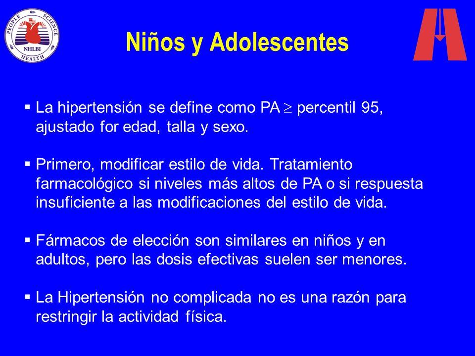 Niños y Adolescentes La hipertensión se define como PA percentil 95, ajustado for edad, talla y sexo. Primero, modificar estilo de vida. Tratamiento f