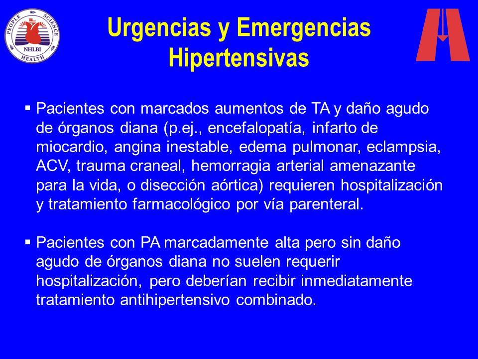 Urgencias y Emergencias Hipertensivas Pacientes con marcados aumentos de TA y daño agudo de órganos diana (p.ej., encefalopatía, infarto de miocardio,