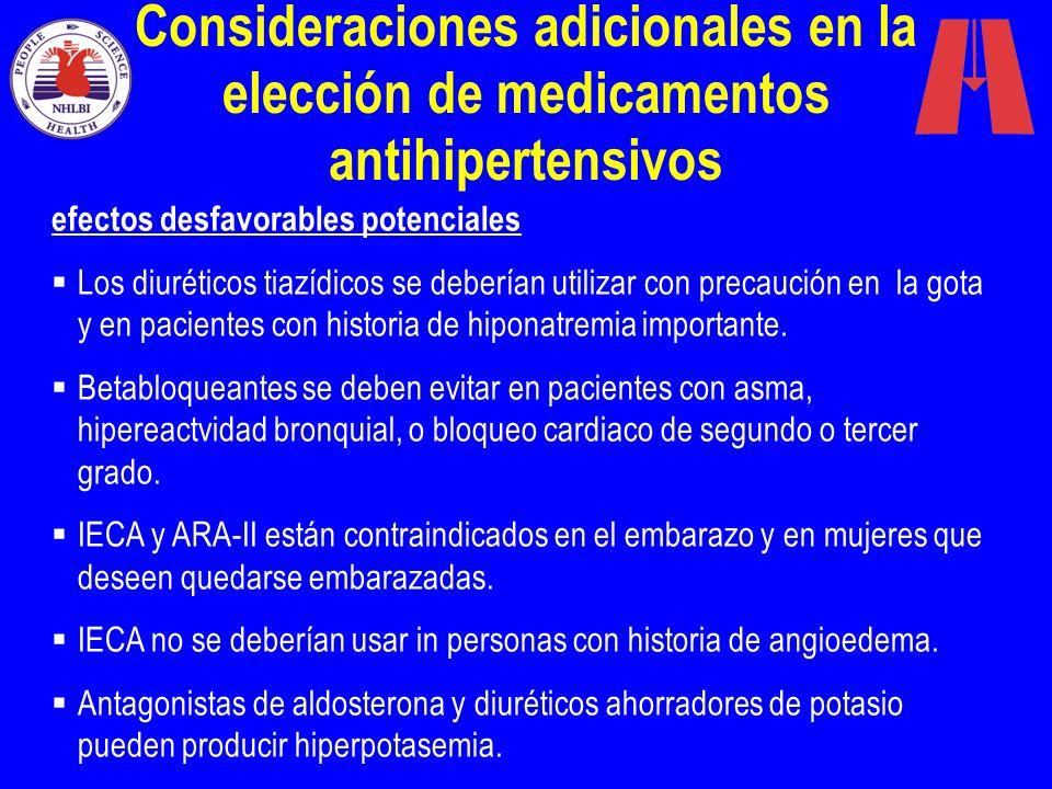 Consideraciones adicionales en la elección de medicamentos antihipertensivos efectos desfavorables potenciales Los diuréticos tiazídicos se deberían u