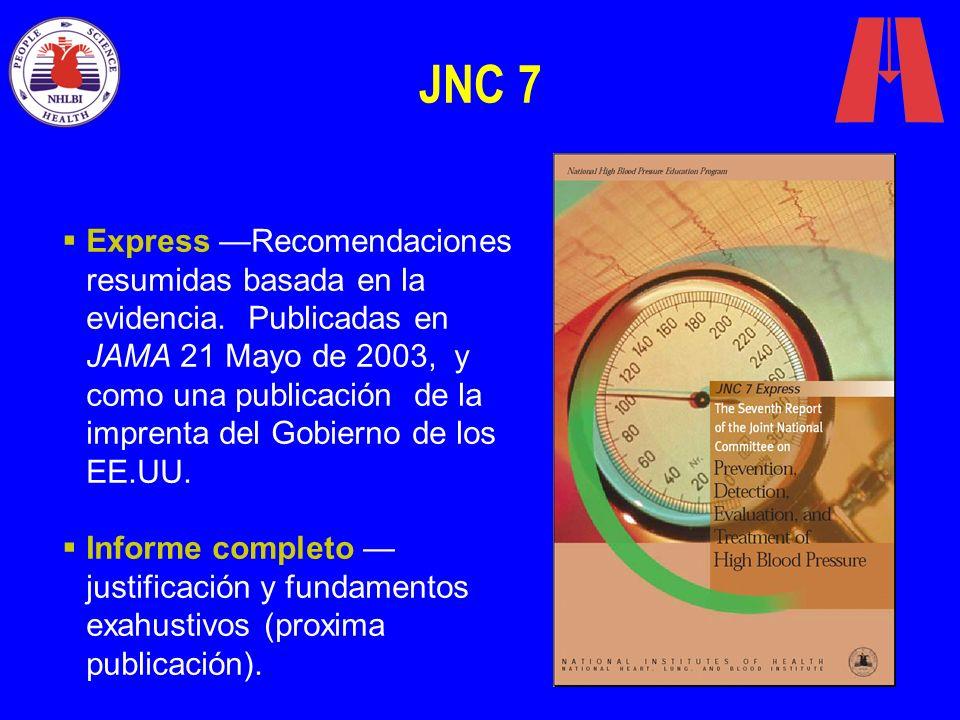 JNC 7 Express Recomendaciones resumidas basada en la evidencia. Publicadas en JAMA 21 Mayo de 2003, y como una publicación de la imprenta del Gobierno
