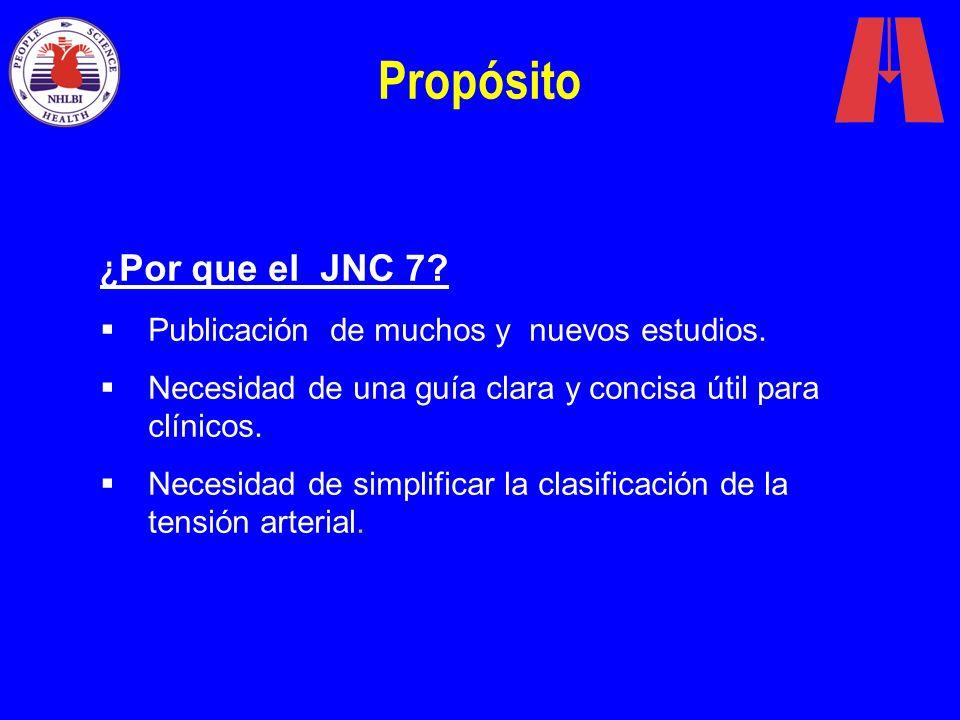 Propósito ¿ Por que el JNC 7? Publicación de muchos y nuevos estudios. Necesidad de una guía clara y concisa útil para clínicos. Necesidad de simplifi