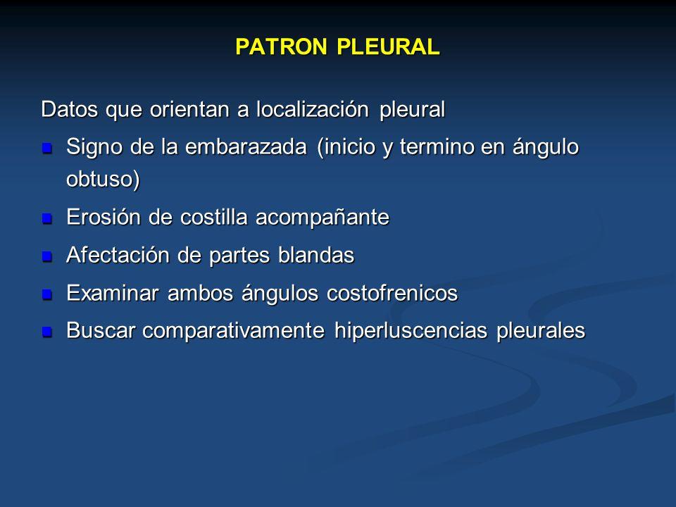 PATRON PLEURAL Datos que orientan a localización pleural Signo de la embarazada (inicio y termino en ángulo obtuso) Signo de la embarazada (inicio y t