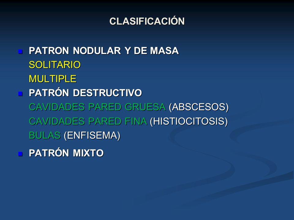 CLASIFICACIÓN PATRON NODULAR Y DE MASA PATRON NODULAR Y DE MASASOLITARIOMULTIPLE PATRÓN DESTRUCTIVO PATRÓN DESTRUCTIVO CAVIDADES PARED GRUESA (ABSCESO