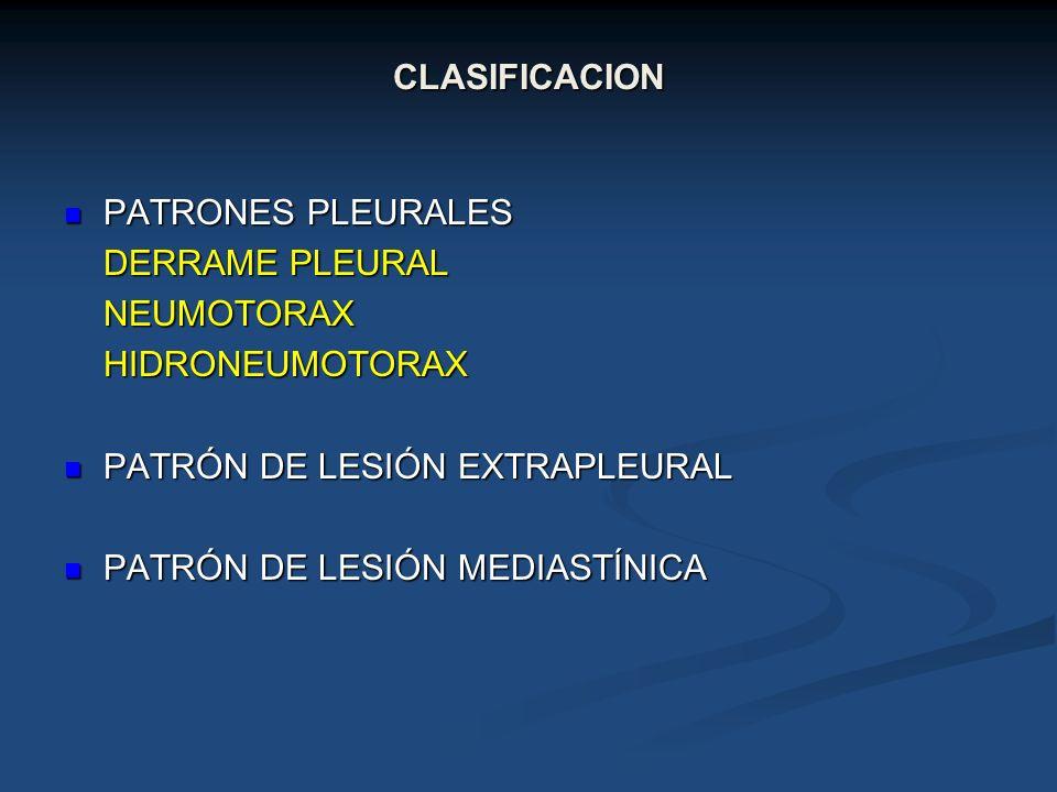 CLASIFICACION PATRONES PLEURALES PATRONES PLEURALES DERRAME PLEURAL NEUMOTORAXHIDRONEUMOTORAX PATRÓN DE LESIÓN EXTRAPLEURAL PATRÓN DE LESIÓN EXTRAPLEU