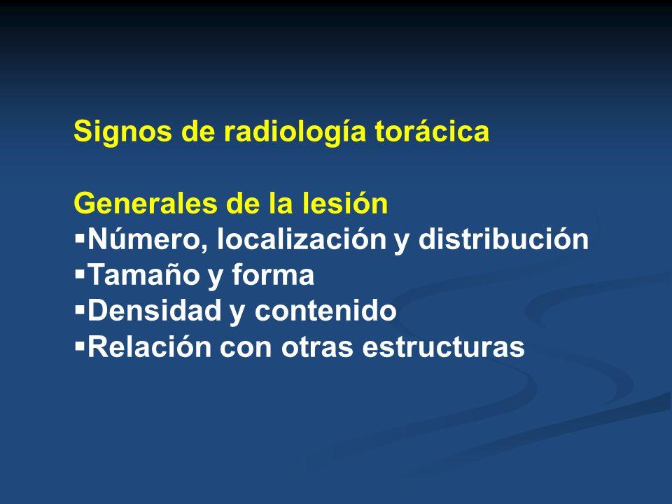 Signos de radiología torácica Generales de la lesión Número, localización y distribución Tamaño y forma Densidad y contenido Relación con otras estruc