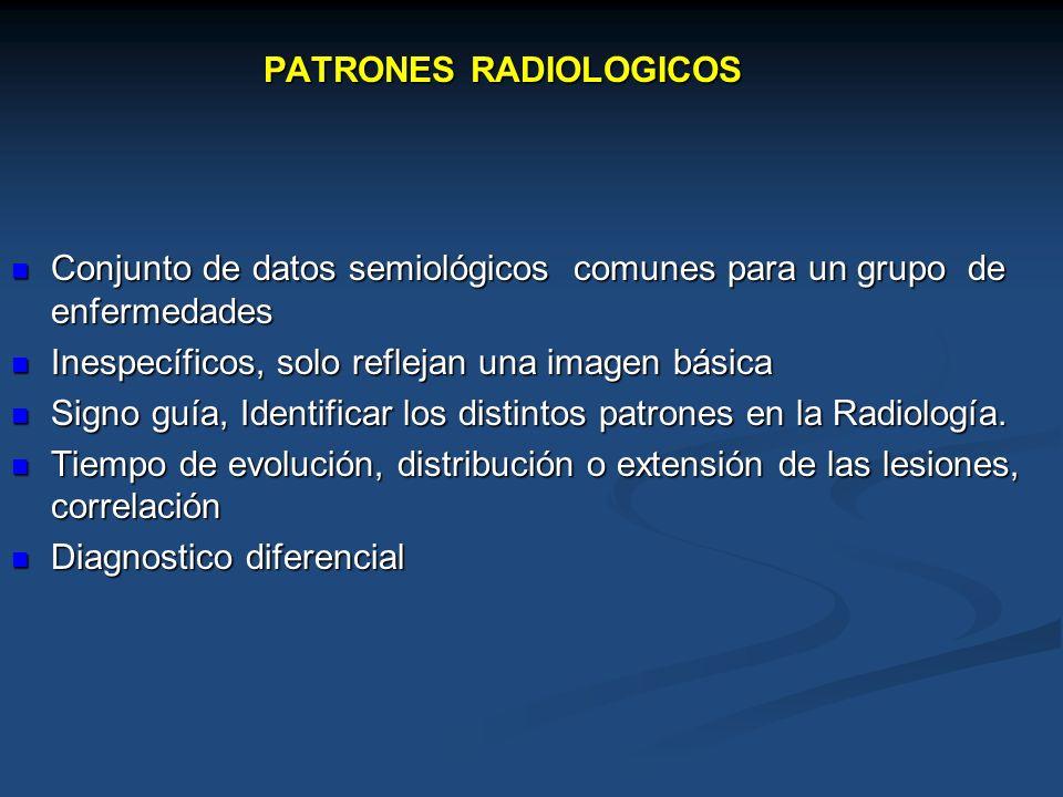 Patrones radiológicos del tórax Conjunto de datos detectables en la radiografía, comunes a un grupo de enfermedades Desarrollar el hábito de identificar patrones Desarrollar Diagnostico diferencial moderadamente amplio Reducirlo: Análisis cuidadoso de la Radiografía.