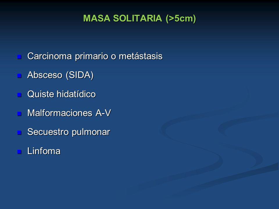 MASA SOLITARIA (>5cm) Carcinoma primario o metástasis Carcinoma primario o metástasis Absceso (SIDA) Absceso (SIDA) Quiste hidatídico Quiste hidatídic