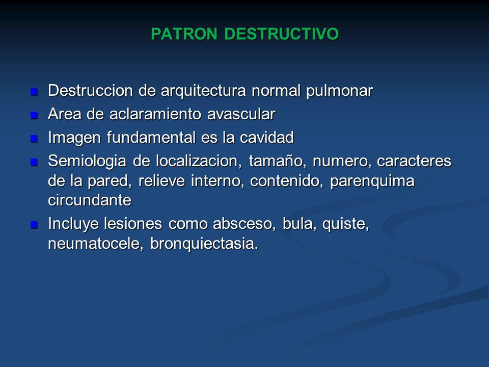 PATRON DESTRUCTIVO Destruccion de arquitectura normal pulmonar Destruccion de arquitectura normal pulmonar Area de aclaramiento avascular Area de acla