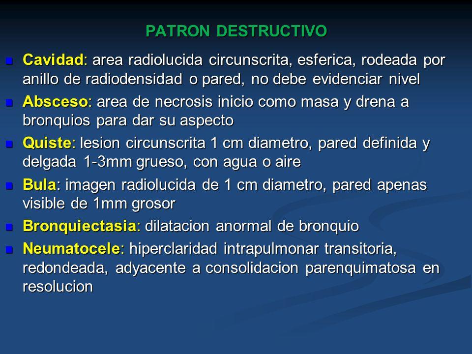 PATRON DESTRUCTIVO Cavidad: area radiolucida circunscrita, esferica, rodeada por anillo de radiodensidad o pared, no debe evidenciar nivel Cavidad: ar