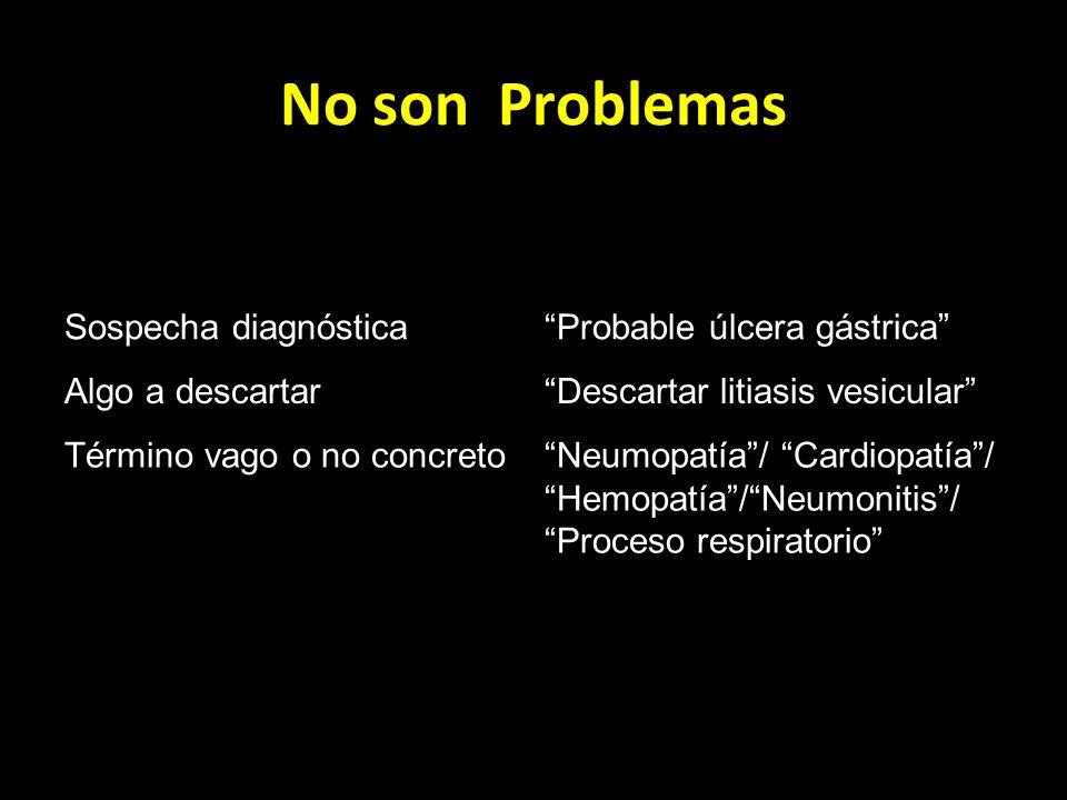 No son Problemas Sospecha diagnósticaProbable úlcera gástrica Algo a descartarDescartar litiasis vesicular Término vago o no concretoNeumopatía/ Cardi