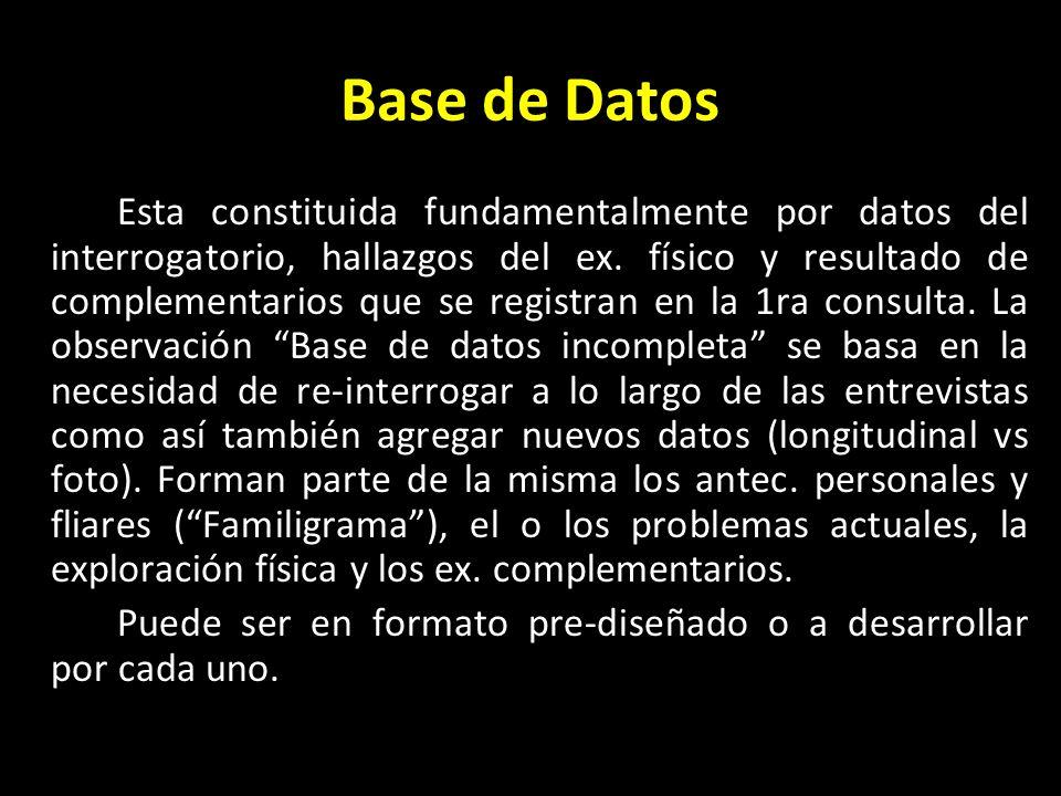Base de Datos Esta constituida fundamentalmente por datos del interrogatorio, hallazgos del ex. físico y resultado de complementarios que se registran