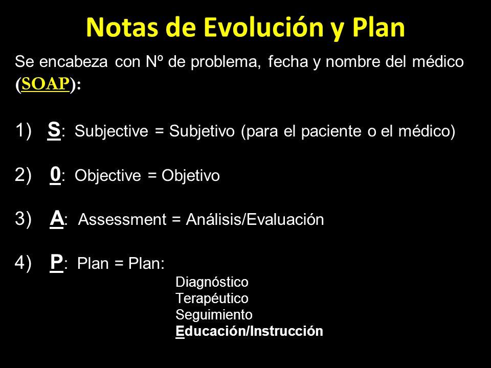 Notas de Evolución y Plan Se encabeza con Nº de problema, fecha y nombre del médico (): (SOAP): 1) S : Subjective = Subjetivo (para el paciente o el m