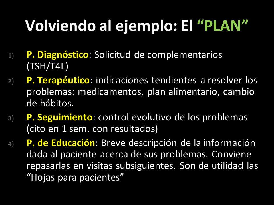 Volviendo al ejemplo: El PLAN 1) P. Diagnóstico: Solicitud de complementarios (TSH/T4L) 2) P. Terapéutico: indicaciones tendientes a resolver los prob