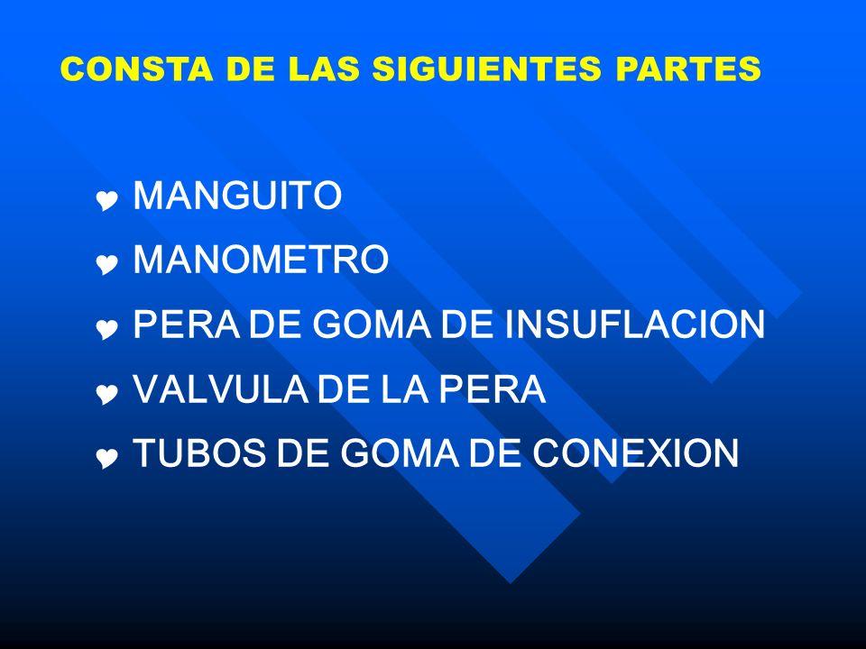 CONSTA DE LAS SIGUIENTES PARTES MANGUITO MANOMETRO PERA DE GOMA DE INSUFLACION VALVULA DE LA PERA TUBOS DE GOMA DE CONEXION