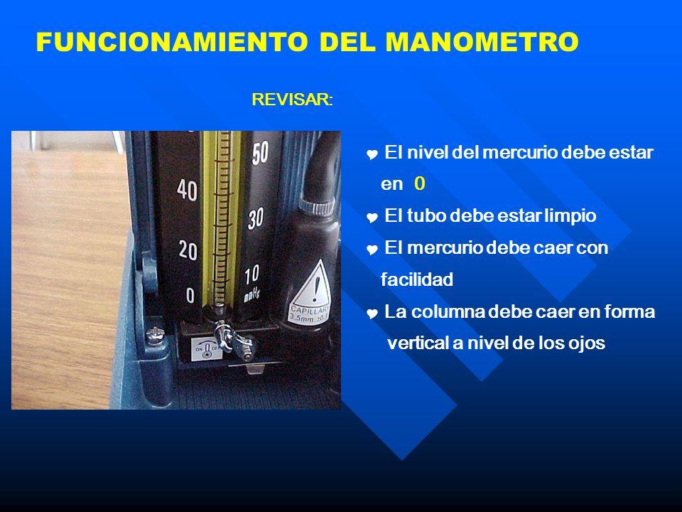 FUNCIONAMIENTO DEL MANOMETRO El nivel del mercurio debe estar en 0 El tubo debe estar limpio El mercurio debe caer con facilidad La columna debe caer