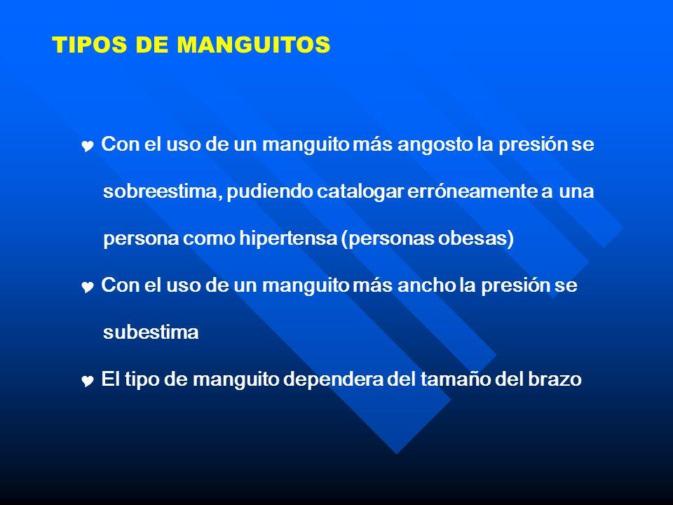 TIPOS DE MANGUITOS Con el uso de un manguito más angosto la presión se sobreestima, pudiendo catalogar erróneamente a una persona como hipertensa (per
