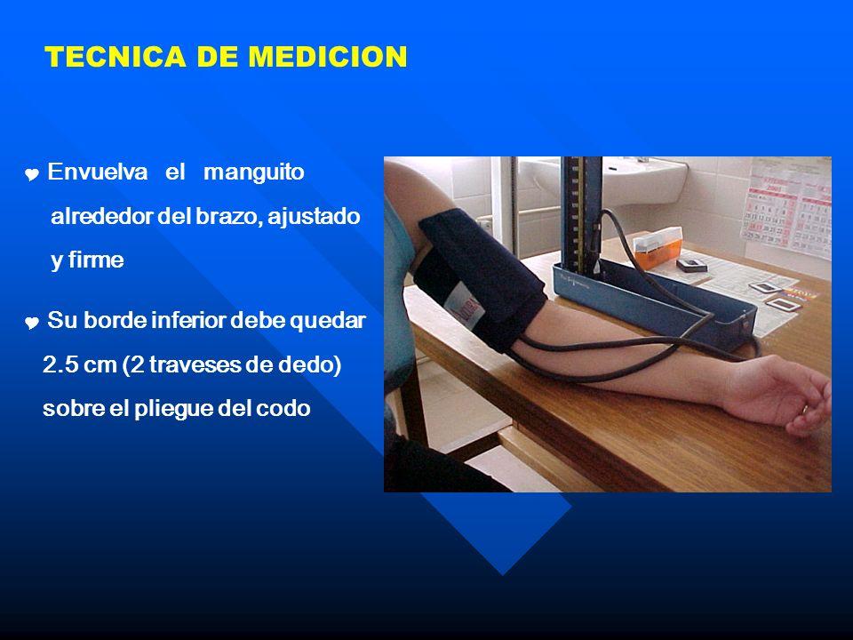 TECNICA DE MEDICION Envuelva el manguito alrededor del brazo, ajustado y firme Su borde inferior debe quedar 2.5 cm (2 traveses de dedo) sobre el plie