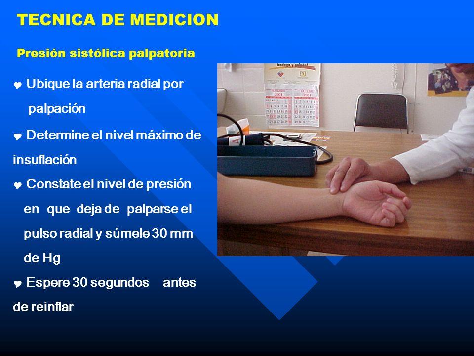 TECNICA DE MEDICION Ubique la arteria radial por palpación Determine el nivel máximo de insuflación Constate el nivel de presión en que deja de palpar