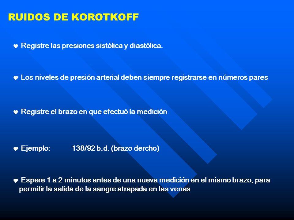RUIDOS DE KOROTKOFF Registre las presiones sistólica y diastólica. Los niveles de presión arterial deben siempre registrarse en números pares Registre