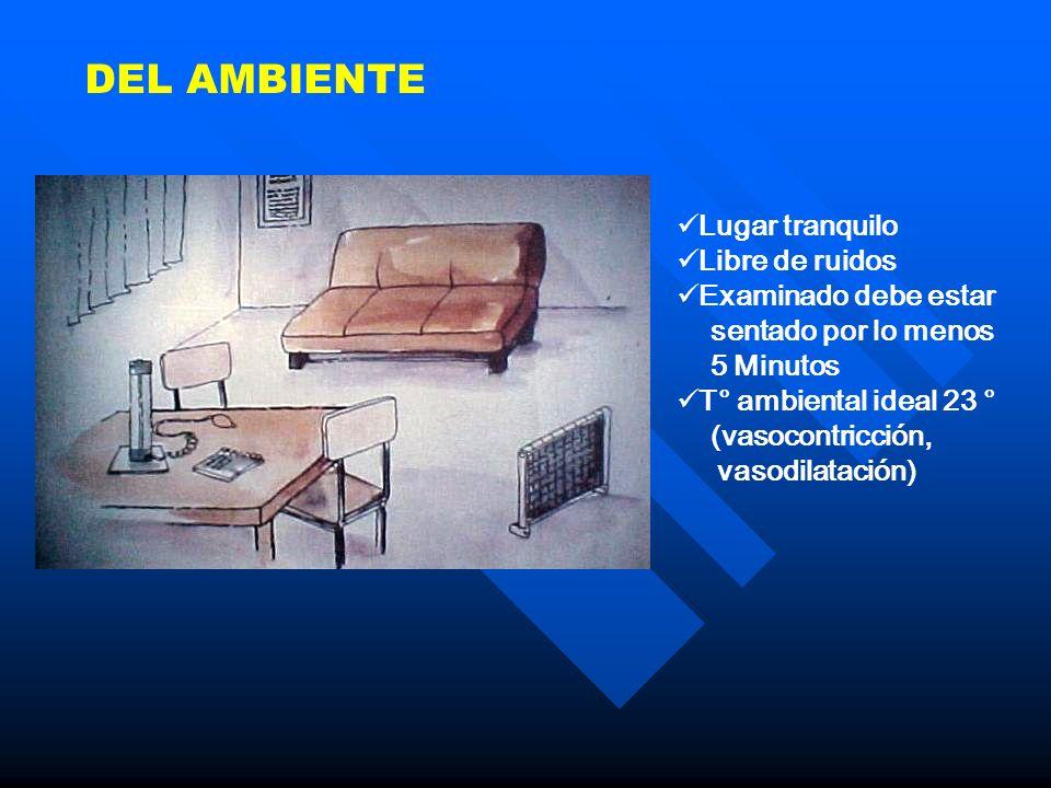 DEL AMBIENTE Lugar tranquilo Libre de ruidos Examinado debe estar sentado por lo menos 5 Minutos T° ambiental ideal 23 ° (vasocontricción, vasodilatac