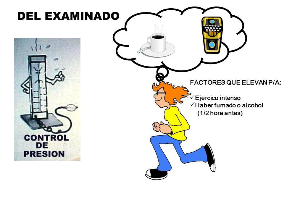 DEL EXAMINADO FACTORES QUE ELEVAN P/A: Ejercico intenso Haber fumado o alcohol (1/2 hora antes) www.portalesmedicos.com