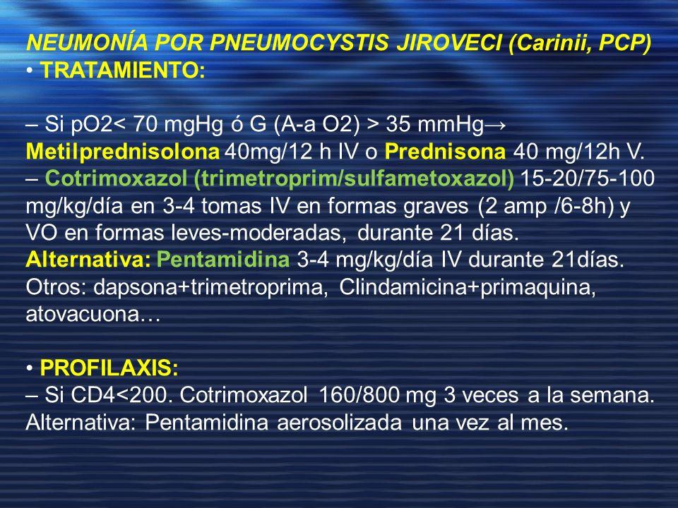 NEUMONÍA POR PNEUMOCYSTIS JIROVECI (Carinii, PCP) TRATAMIENTO: – Si pO2 35 mmHg Metilprednisolona 40mg/12 h IV o Prednisona 40 mg/12h V. – Cotrimoxazo