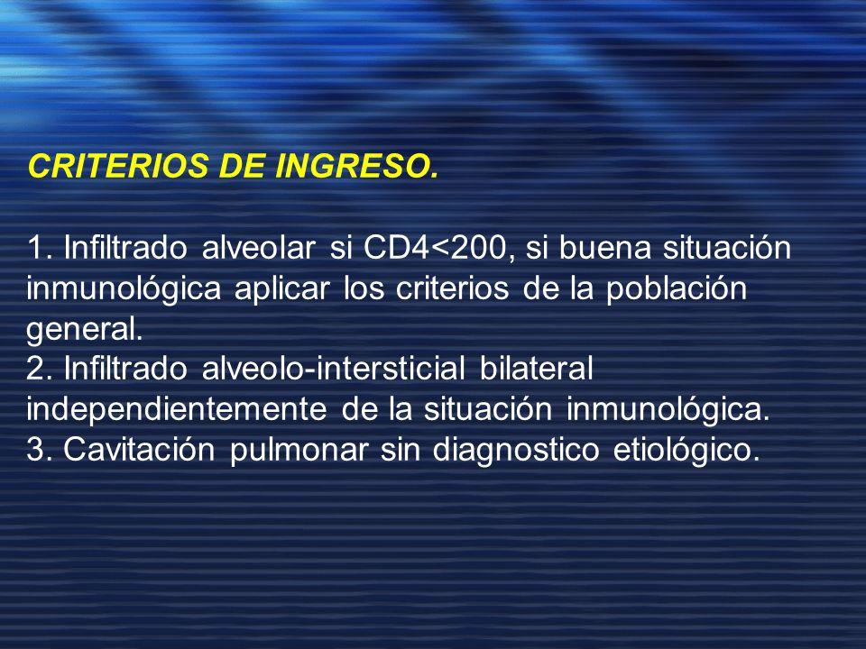 CRITERIOS DE INGRESO. 1. Infiltrado alveolar si CD4<200, si buena situación inmunológica aplicar los criterios de la población general. 2. Infiltrado