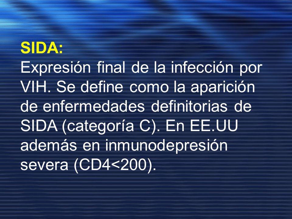 SIDA: Expresión final de la infección por VIH. Se define como la aparición de enfermedades definitorias de SIDA (categoría C). En EE.UU además en inmu