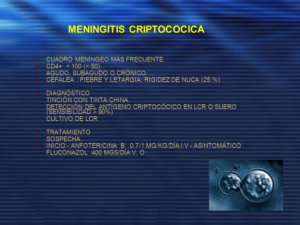 CUADRO MENÍNGEO MÁS FRECUENTE. CD4+ < 100 (< 50). AGUDO, SUBAGUDO O CRÓNICO. CEFALEA, FIEBRE Y LETARGIA; RIGIDEZ DE NUCA (25 %) DIAGNÓSTICO TINCIÓN CO