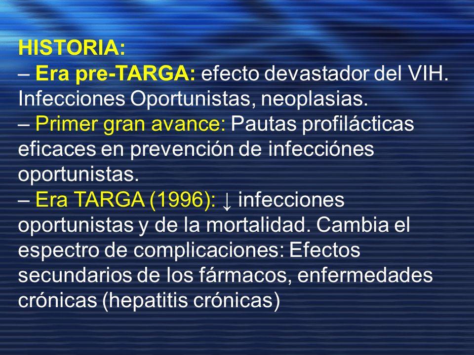 HISTORIA: – Era pre-TARGA: efecto devastador del VIH. Infecciones Oportunistas, neoplasias. – Primer gran avance: Pautas profilácticas eficaces en pre