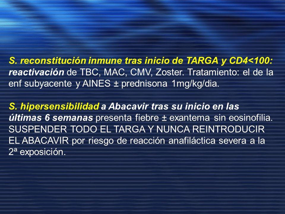 S. reconstitución inmune tras inicio de TARGA y CD4<100: reactivación de TBC, MAC, CMV, Zoster. Tratamiento: el de la enf subyacente y AINES ± prednis