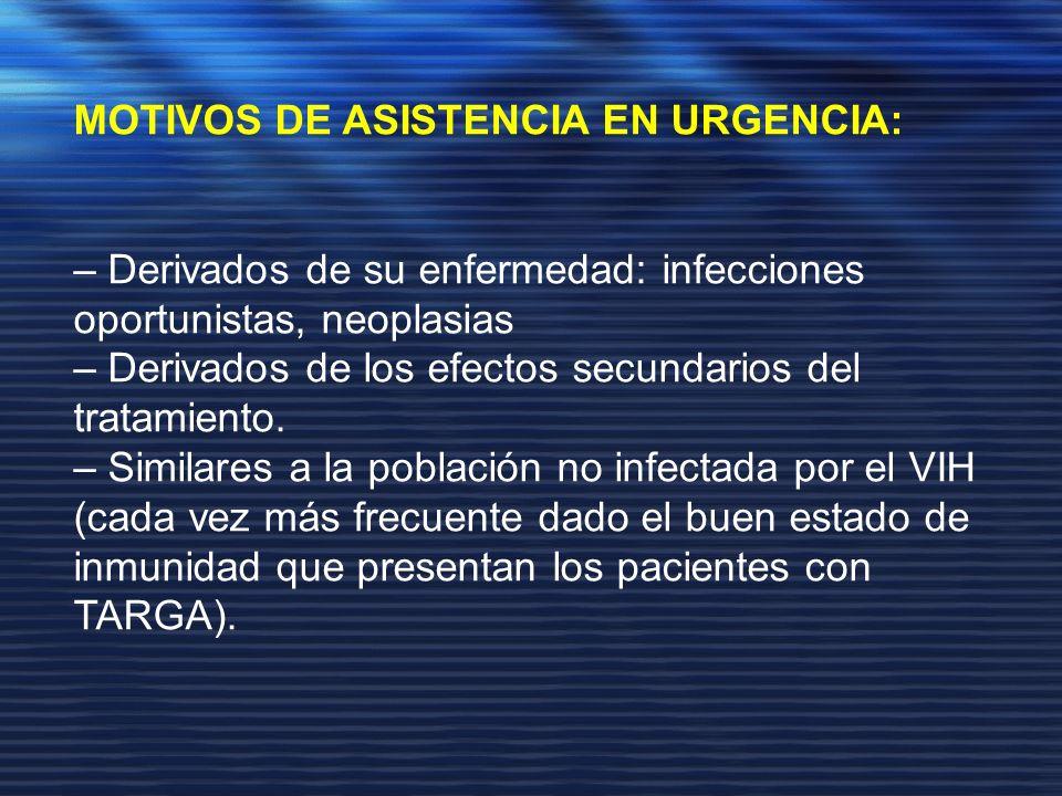 MOTIVOS DE ASISTENCIA EN URGENCIA: – Derivados de su enfermedad: infecciones oportunistas, neoplasias – Derivados de los efectos secundarios del trata