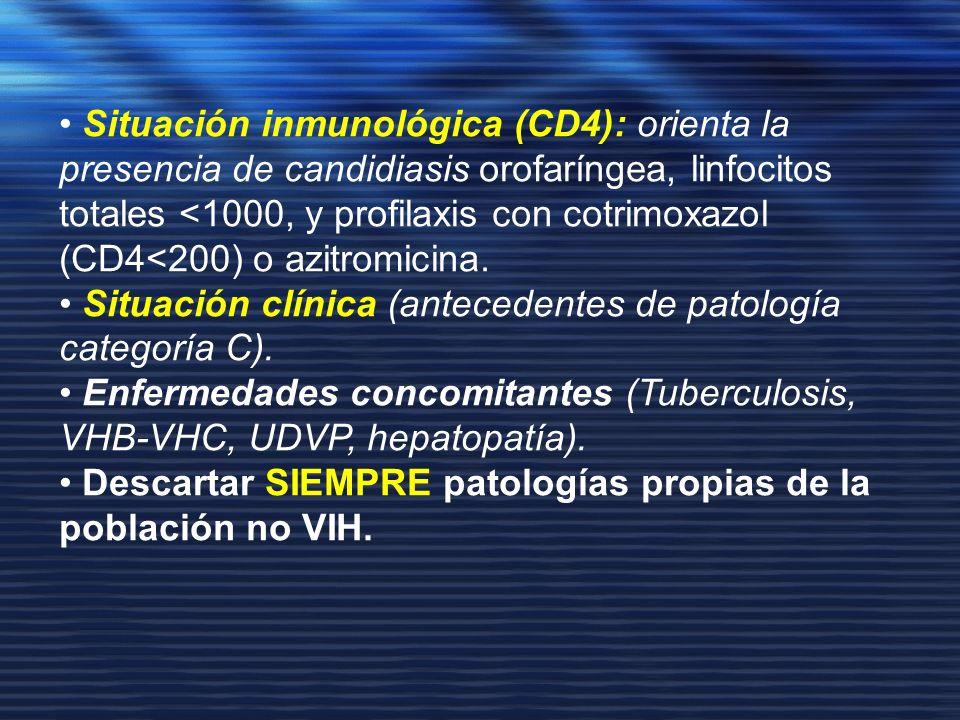 Situación inmunológica (CD4): orienta la presencia de candidiasis orofaríngea, linfocitos totales <1000, y profilaxis con cotrimoxazol (CD4<200) o azi