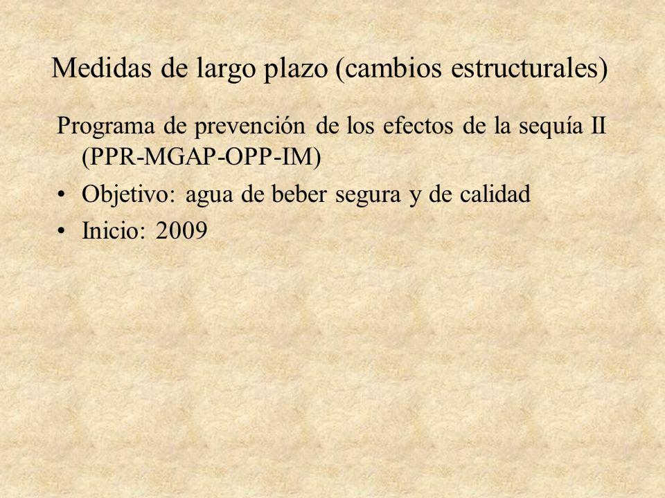 Medidas de largo plazo (cambios estructurales) Programa de prevención de los efectos de la sequía II (PPR-MGAP-OPP-IM) Objetivo: agua de beber segura y de calidad Inicio: 2009