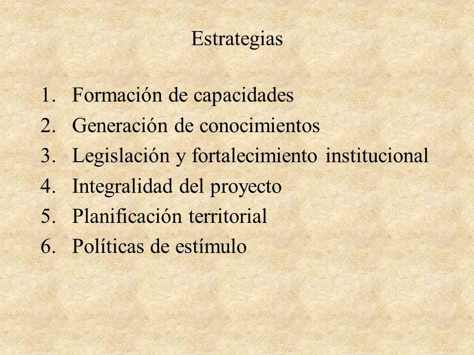 Estrategias 1.Formación de capacidades 2.Generación de conocimientos 3.Legislación y fortalecimiento institucional 4.Integralidad del proyecto 5.Planificación territorial 6.Políticas de estímulo