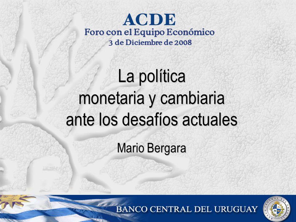 La política monetaria y cambiaria ante los desafíos actuales Mario Bergara Foro con el Equipo Económico 3 de Diciembre de 2008