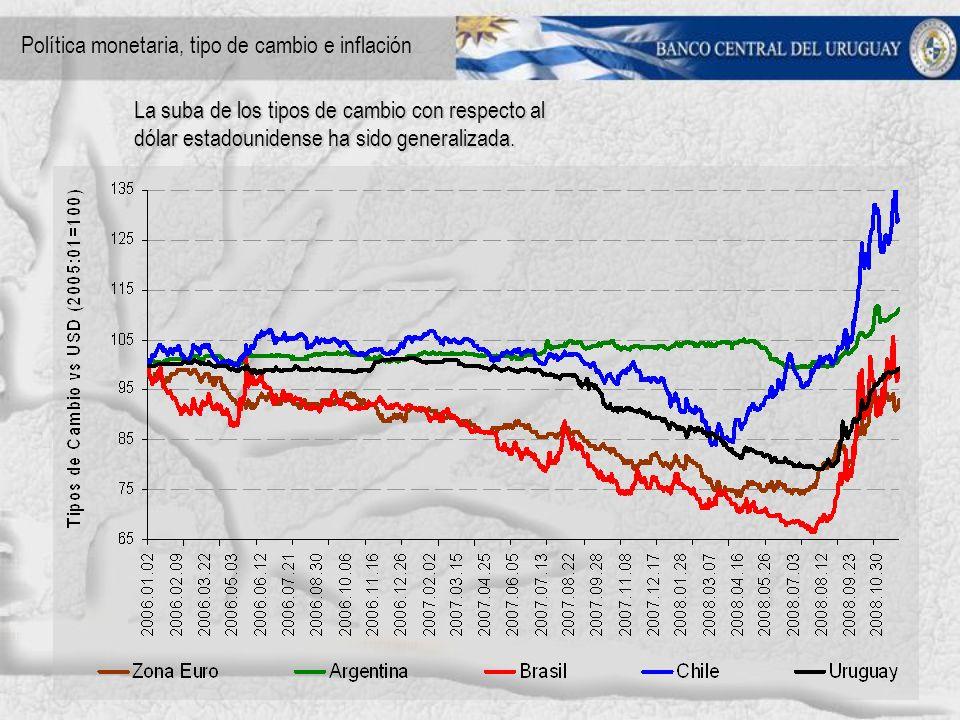 La suba de los tipos de cambio con respecto al dólar estadounidense ha sido generalizada.