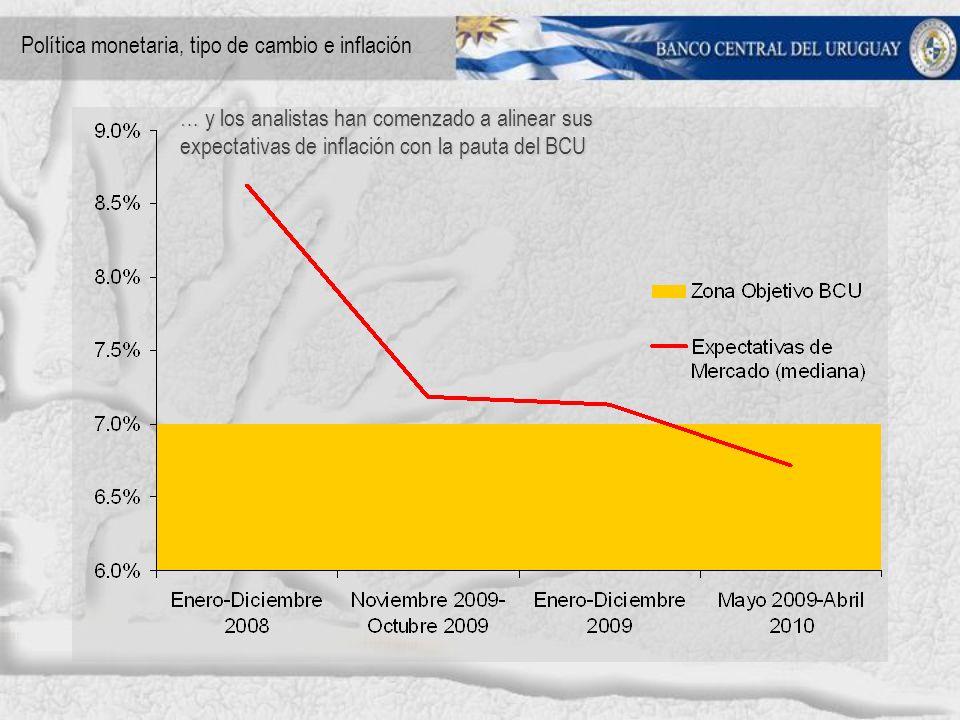 … y los analistas han comenzado a alinear sus expectativas de inflación con la pauta del BCU Política monetaria, tipo de cambio e inflación
