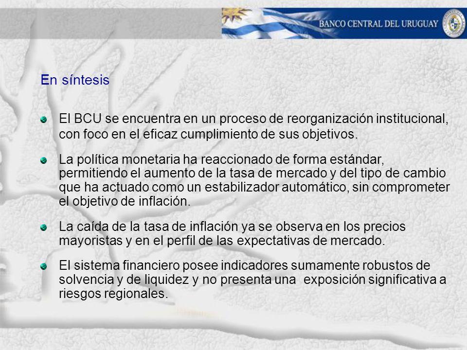 En síntesis El BCU se encuentra en un proceso de reorganización institucional, con foco en el eficaz cumplimiento de sus objetivos.
