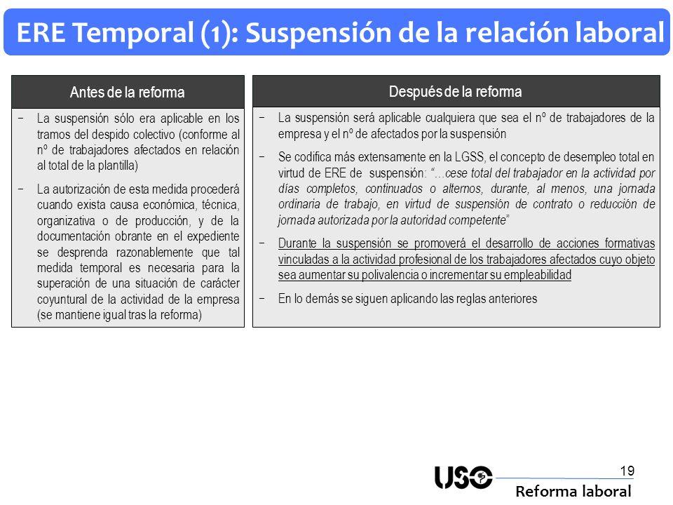 19 ERE Temporal (1): Suspensión de la relación laboral Reforma laboral Después de la reforma Antes de la reforma La suspensión será aplicable cualquie