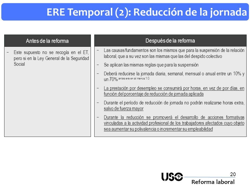 20 ERE Temporal (2): Reducción de la jornada Reforma laboral Después de la reforma Antes de la reforma Las causas/fundamentos son los mismos que para
