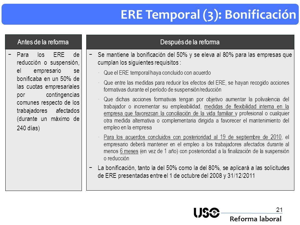 21 ERE Temporal (3): Bonificación Reforma laboral Después de la reforma Antes de la reforma Se mantiene la bonificación del 50% y se eleva al 80% para
