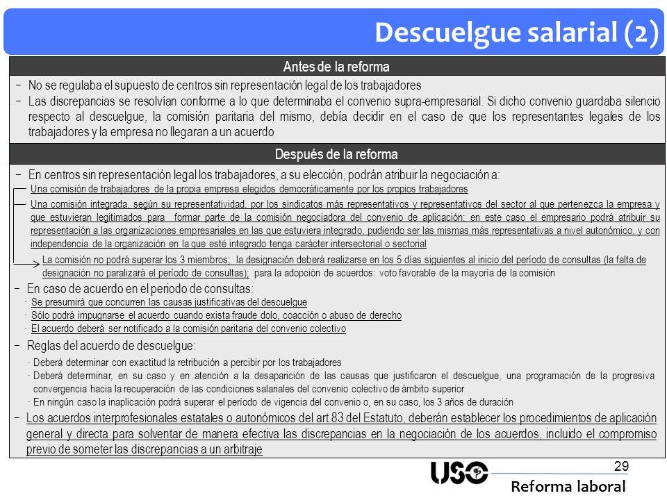 29 Descuelgue salarial (2) Reforma laboral Después de la reforma Antes de la reforma En centros sin representación legal los trabajadores, a su elecci