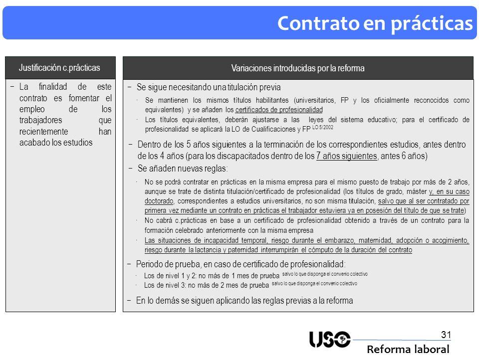 32 Contrato para la formación (1) Reforma laboral Antes La finalidad de este contrato es la contratación de trabajadores jóvenes que carecen de formación Además de conllevar trabajo efectivo, requiere recibir formación teórica Modificaciones introducidas por la reforma Se les amplia al 100% la acción protectora de la SS, incluido el desempleo y el FOGASA: La cotización por desempleo será una cuota fija resultante de aplicar a la base mínima por profesionales, el mismo tipo de cotización que en el contrato en prácticas Base reguladora/cuantía desempleo: se calcularán conforme a las reglas generales Se exceptúa del desempleo a los alumnos trabajadores en los programas de escuelas taller, casas de oficios y talleres de empleo Se eleva la retribución mínima durante el 2º año de contrato: Al menos el SMI, con independencia del tiempo dedicado a la formación teórica Antes era en función del tiempo de trabajo efectivo para el 1º año sigue siendo así Las situaciones de incapacidad temporal, riesgo durante el embarazo, maternidad, adopción o acogimiento, riesgo durante la lactancia y paternidad interrumpirán el cómputo de la duración del contrato Junto con las anteriores se modifican numerosos aspectos relativos a la formación teórica (es de especial interés, la nueva obligación de impartir la formación teórica, en todo caso, fuera del puesto de trabajo) Transitoriamente, hasta el 31/12/2011, se podrá contratar a trabajadores menores de 25 años (en vez de menores de 21 ) : El límite máximo de edad no será de aplicación cuando se concierte este contrato con discapacitados (igual que antes de la reforma) Para los desempleados que se incorporen como alumnos-trabajadores a los programas públicos de empleo-formación, tales como los de escuelas taller, casas de oficios, talleres de empleo u otros que se puedan aprobar, el límite máximo de edad será el establecido en las disposiciones que regulen el contenido de los citados programas Los desempleados que cursen un ciclo formativo d